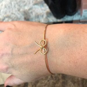 Handmade gold bow bangle